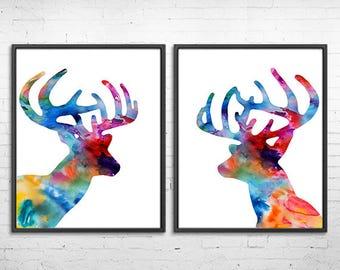 Deer heads paintng, woodland animals print, watercolor art prints, deer horn, colorful wall decor, set of 2 prints  - H281