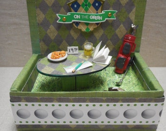 Miniature roombox - golfing scene at the 19th hole