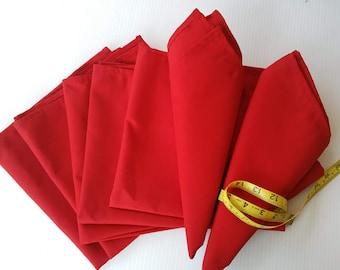 Red Table Napkin Set, Handmade Red Napkins, Holiday Red Napkins, Christmas Red Napkins