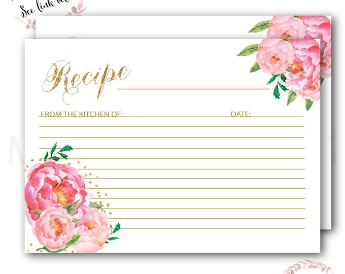 Recipe Card for the Bride to Be // Fall Recipe Card // Pumpkin Recipe Card // Watercolor // Gold //Instant Download// CAPE BRETON COLLECTION