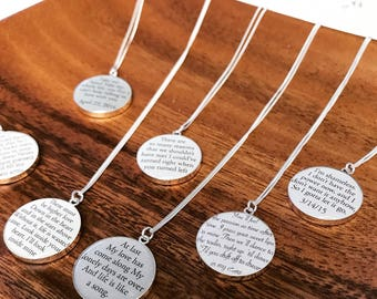 Cotton Anniversary Gift for Wife / Personalized Necklace with your Wedding Vows or Lyrics on COTTON / 2nd Anniversary Gift for Her / Woman