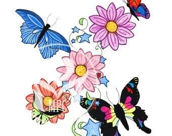 Flowers and Butterflies art print - 8x10