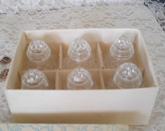 Box of 6 Czechoslovakia Crystal Salt Shakers