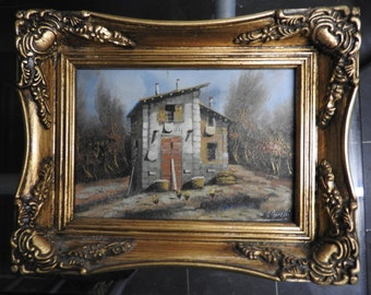 Signed oil on board,ornated  gilt framed miniature by Borelli