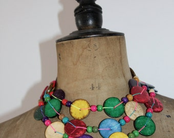 Bohemian wood buttons string beads Ooak necklace