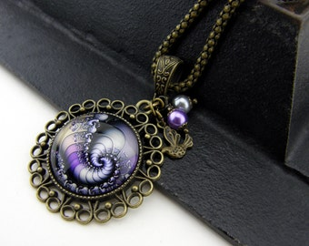 Fractal Necklace, Vintage Style Necklace, Bronze, Sacred Geometry Jewelry, Fibonacci Necklace, Spiral, Swirl, Antiqued, Purple, Lavender