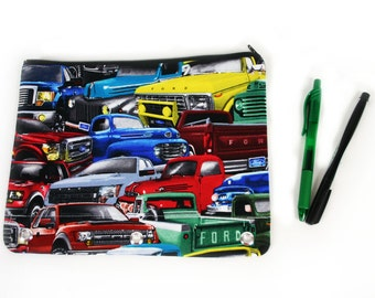 trucks binder pencil pouch, Ford 3-ring binder pencil case, stocking stuffer, school supply