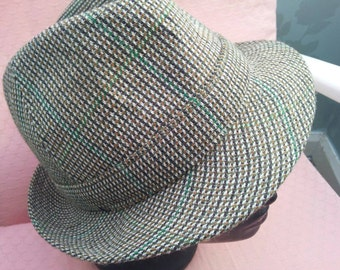 Classic Mens Vintage TWEED Trilby ~ FAILSWORTH ~ Geek Chic ~ Feather Detail