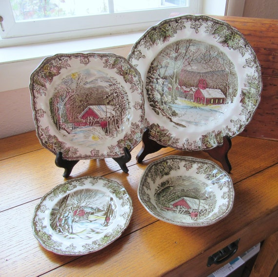 Johnson Bros 4 Piece Place Setting Of Friendly Village Without Cup and Saucer Old Mark England