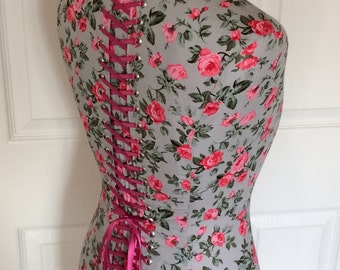 Full Size Mannequin Home and Boutique Dress Form covered in Pink Flower Cotton Fabric and Laced with Fuchsia Pink ribbon at the back.