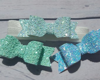 Set of 3 Pastel summer bows and detachable baby band!