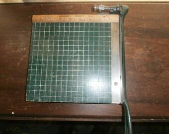 Vintage office equipment Milton Bradley Dandy paper cutter 8 3/4 inch wooden green wood paper trimmer working