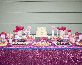 Hot Pink Sequin Tablecloth, Metallic Fuchsia Tablecloth, Dazzling Pink  Sequin, Glitz Tablecloth,