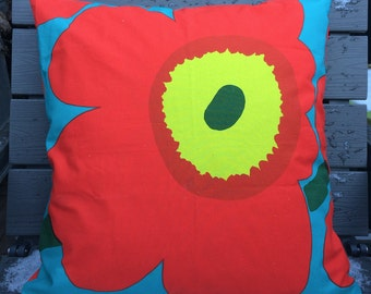 Teal and red Unikko pillow cushion case from Marimekko fabric, Maija Isola design, Finland