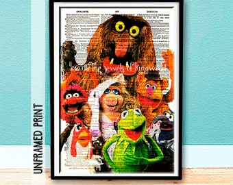 Muppets Dictionary Page Art - Gifts under 20 - Kids Art - Classroom Decor - Jim Henson - Kids Decor - Kermit - Fozzie Bear - Muppets Poster