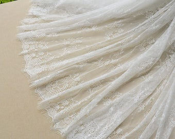 New fashion black/off white high quality eyelash embroidery lace diy skirt clothes accessoried lace fabric 150cm*3meters by piece