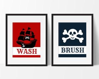 Pirate Bathroom Decor   Kids Bathroom Decor   Bathroom Decor   Skull And  Crossbones Print