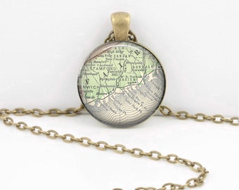 Fairfield County Connecticut  Darien New Canaan Stamford Rowayton Norwalk Vintage Map Geography Gift  Pendant Necklace or Key Ring