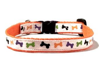 Bones Cat or Dog Collar, Summer Boy Collar, Extra Small Orange Cat or Dog Collar, Tiny Cat or Dog Collar