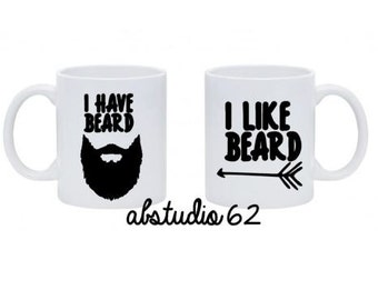 I Like His Beard Couples Mug Set Wedding Gift Couple Coffee Mug His and Her Mugs His and Hers Gift Anniversary Gift Gifts For Boyfriend