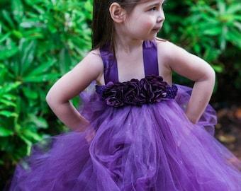 Dark Purple Flower Girl Dress, Plum Flower Girl Dress, Eggplant Flower Girl, Flower Girl Tutu Dress, Tutu Dress, Purple Tutu Dress