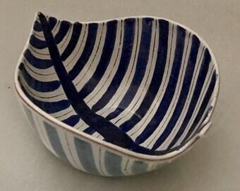 Stig Lindberg Leaf Faience Bowl, Mid Century, Swedish, Ceramic Bowl