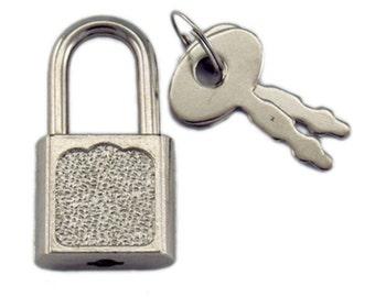 Silver Lock and Key - Antique Style Lock - Metal Padlock and Keys - Silver Locket