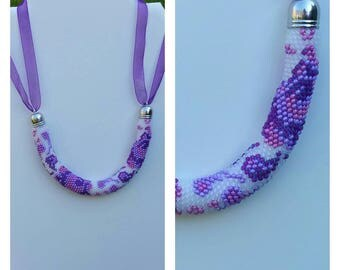 """Summer"" beads crochet necklace."