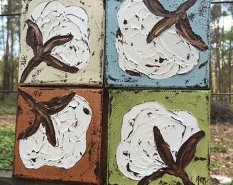 Cotton boll painting, cotton art, cotton decor, rustic art