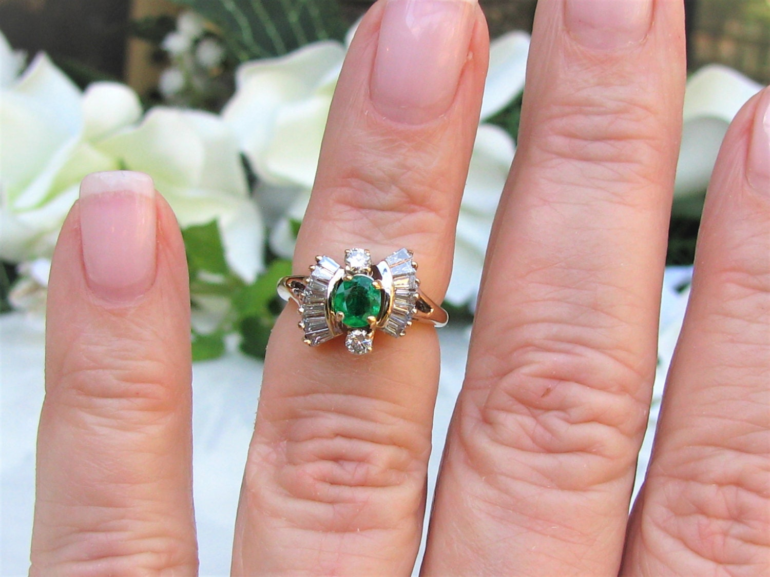 Vintage Emerald Engagement Ring Emerald & Baguette Diamond Wedding ...