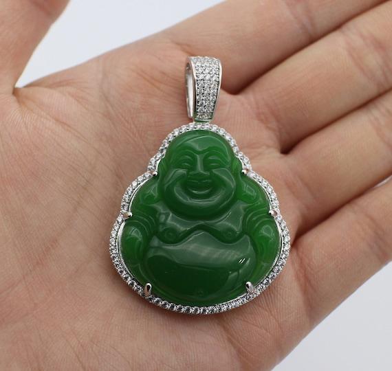 Custom 3d jade 14k white gold laughing buddha pendant charm like this item mozeypictures Images