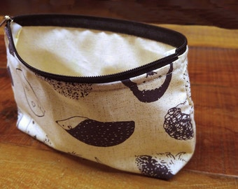 Hedgehog Printed 100% Cotton Makeup Pouch Bag/ Cosmetic pouch