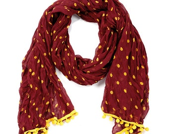 Maroon & Yellow Pom Pom Scarf - Originally 15.00