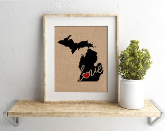 """Michigan (MI) """"Love"""" or """"Home"""" Burlap or Canvas Paper State Silhouette Wall Art Print / Home Decor (Free Shipping)"""