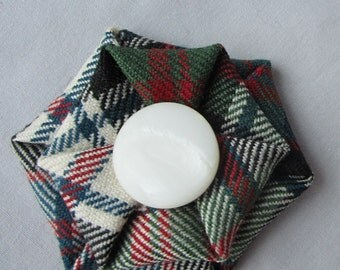 Scottish Clan MacDonald wool tartan brooch in dress, muted colours, Ready to ship, Scottish Clan pin