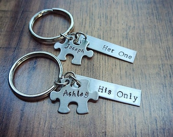 Hand Stamped Personalized Keychain - Couples Keychain Set - Wedding Gift - Anniversary Gift - Puzzle Piece Keychain - Her One His Only