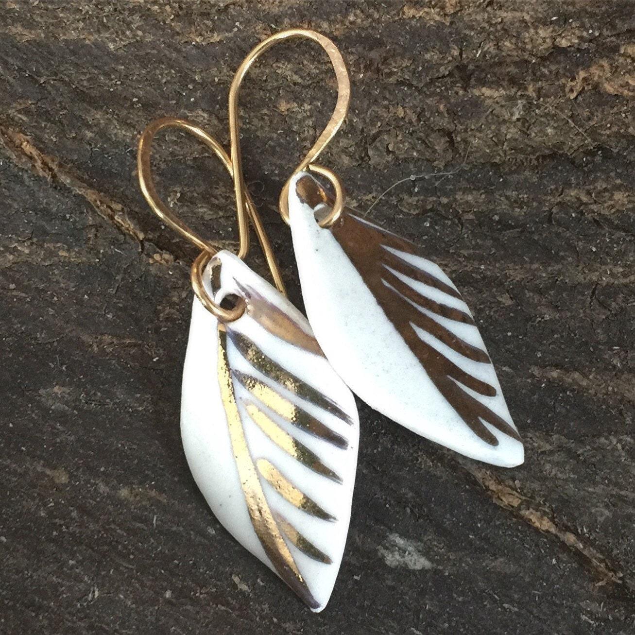 Ceramic Earrings 22 karat gold Modern Jewelry