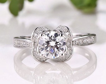 Solid 14K White Gold 6.5MM Round Ring / Engagement  Ring / Semi Mount Ring