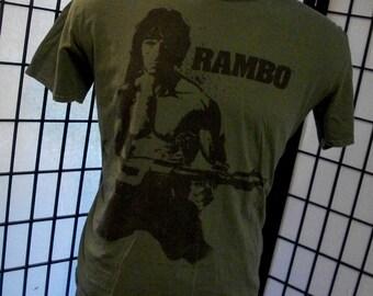 Vintage Rambo Movie Army green tee shirt l xl