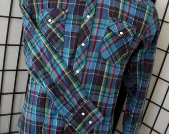 Wrangler mens flannel western rodeo pearl snap plaid check long sleeve shirt xl