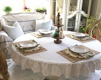 Linen Tablecloth, Round tablecloth, Ruffled Linen Tablecloth. Shabby Chic! Rustic Farmhouse Decor