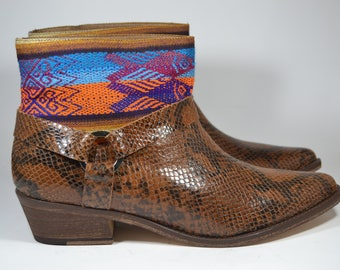 LEATHER ETHNIC BOOTS, Size 39, Brown Boots, Ethnic Boots, Spanish Boots