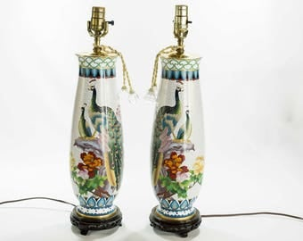 Set of Two Chinese Antique Cloisonne Lamps Circa 1940 - Price is for the Pair