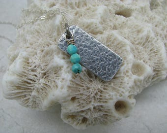 Textured turquoise tab necklace, sterling silver pendant, delicate turquoise necklace, layering necklace, tab pendant, rustic oxidized, boho