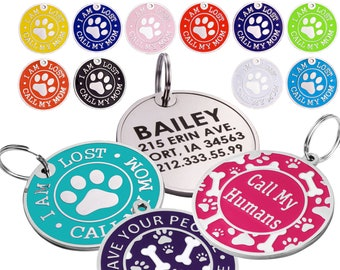 Dog Tag Personalized Pet ID Custom Engraved Enamel