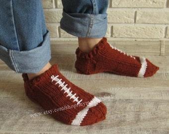 Football slippers. Men ball slippers. Socks Hand Knit brown slippers. Wool slippers Men Gifts. Handmade slippers brown ball.