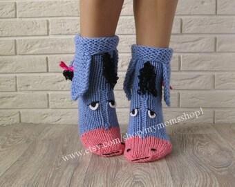 Eeyore knitted socks the donkey from Winnie the Pooh! Socks - Toy. Cute knit socks  Handmade funny knit socks. Wool Socks. Warm socks.