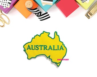 Australia Map Yellow Patch New Sew / Iron On Patch Embroidered Applique Size 7.9cm.x6.3cm.