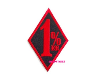 1%ER Biker Motorcycle Patch New Sew / Iron On Patch Embroidered Applique Size 5.6cm.x9cm.