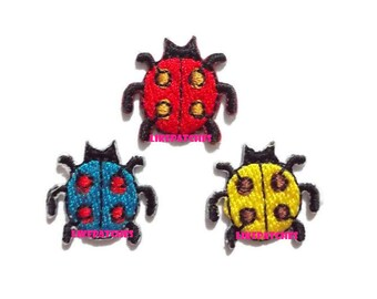 Set 3 pcs. Mini Ladybug - Blue, Yellow, Red Color - Cute Animal Cartoon New Sew / Iron On Patch Embroidered Applique Size 1.9cm.x1.9cm.
